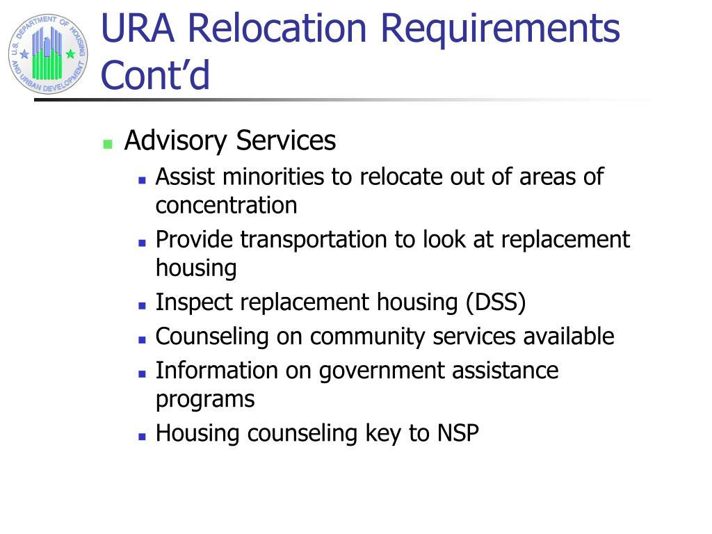 URA Relocation Requirements Cont'd