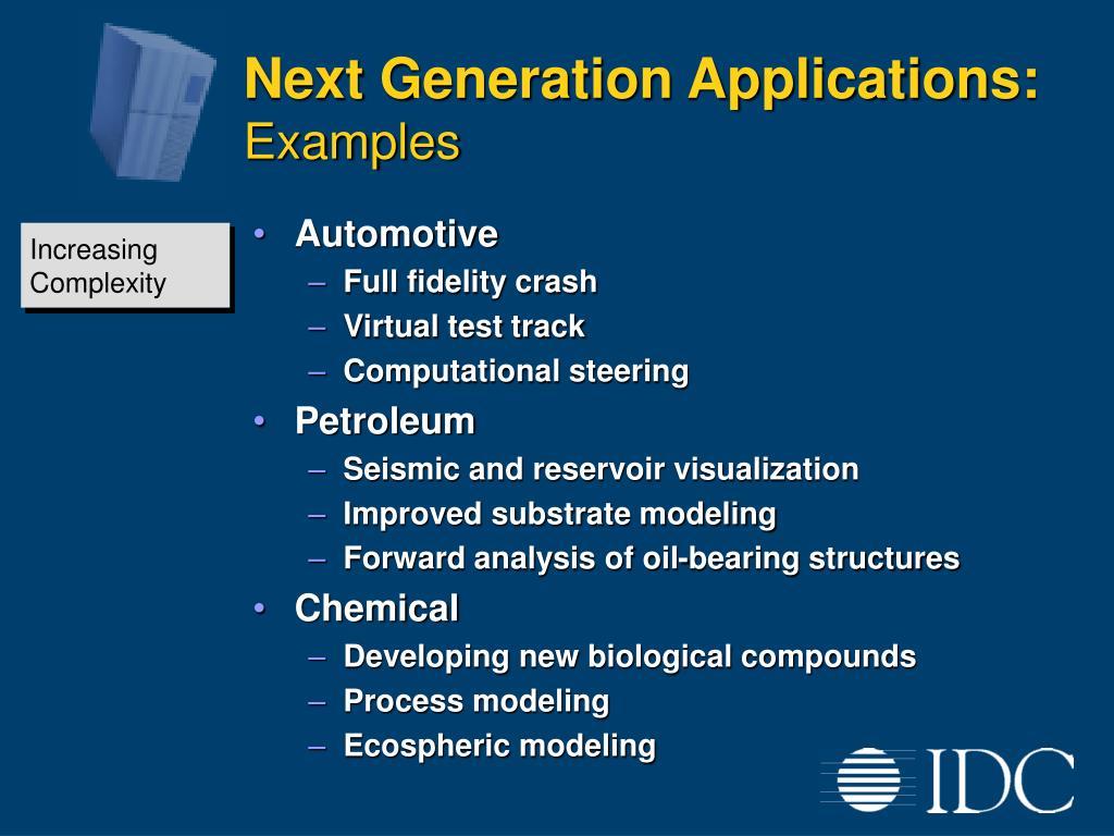 Next Generation Applications: