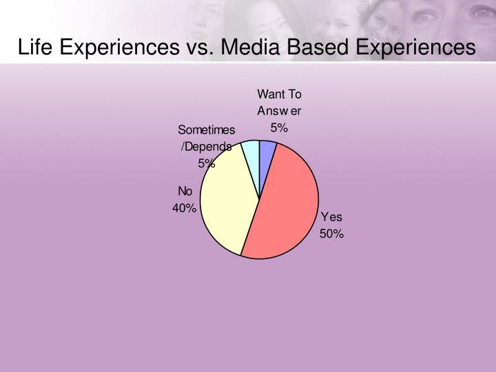 Life Experiences vs. Media Based Experiences