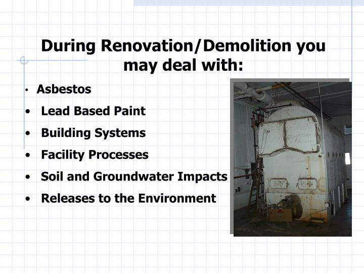 During Renovation/Demolition you may deal with: