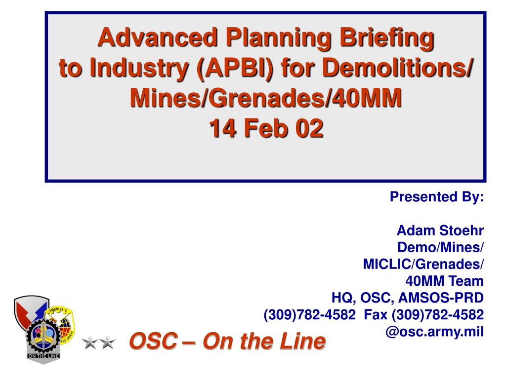 Advanced Planning Briefing