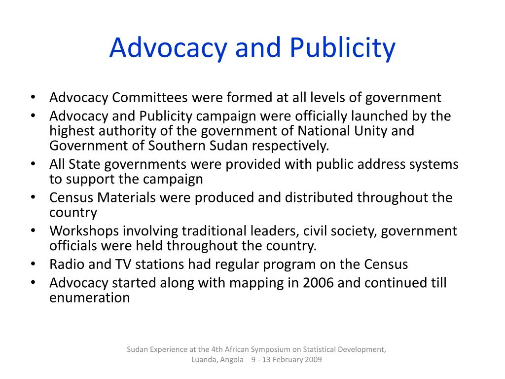 Advocacy and Publicity