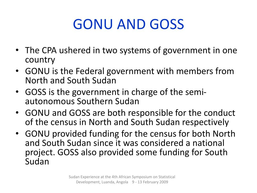 GONU AND GOSS