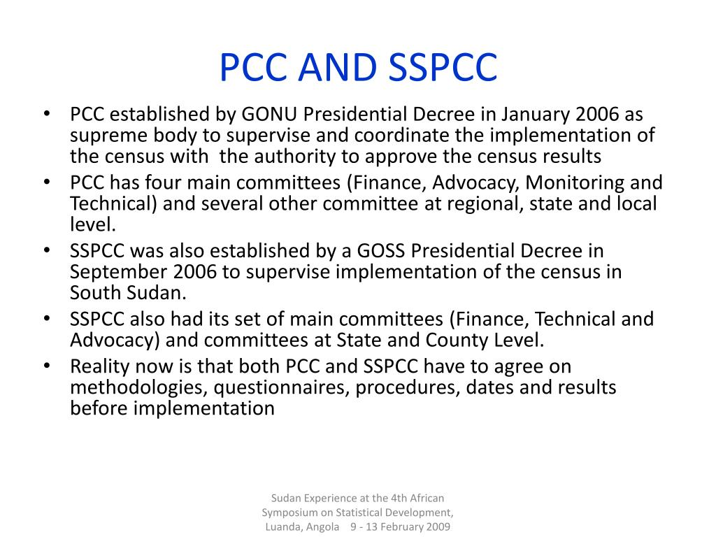 PCC AND SSPCC