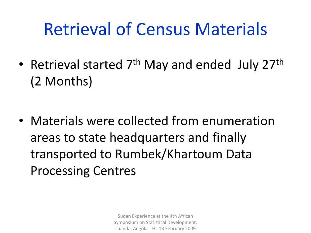 Retrieval of Census Materials