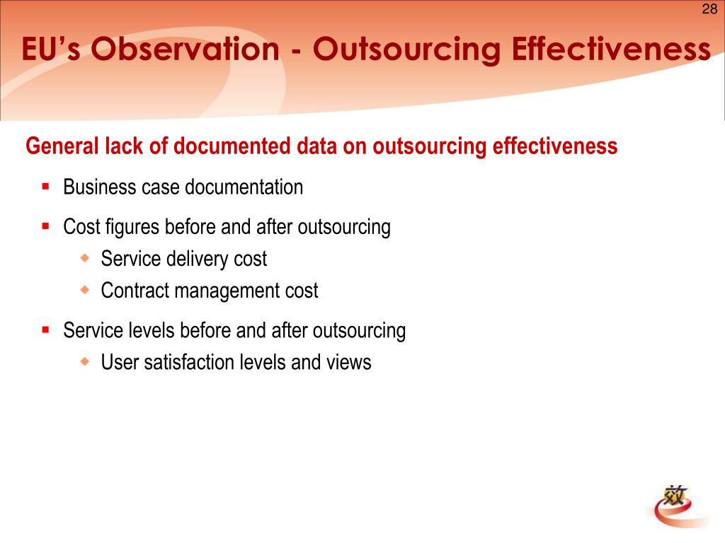 EU's Observation - Outsourcing Effectiveness