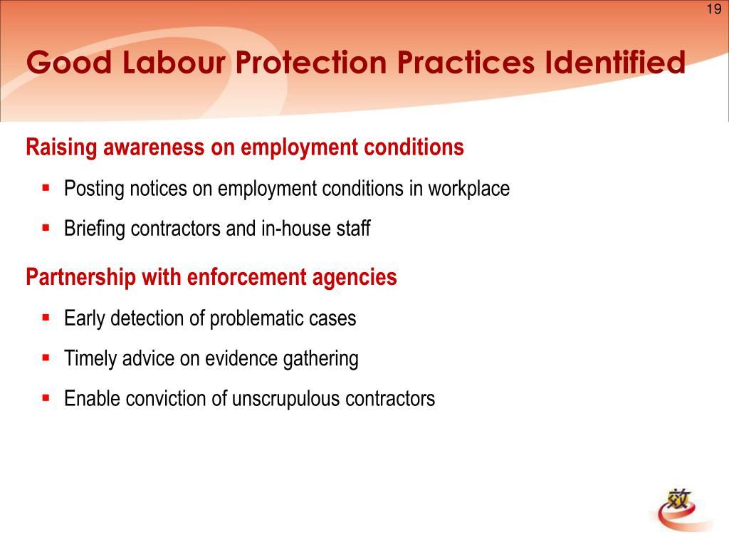 Good Labour Protection Practices Identified