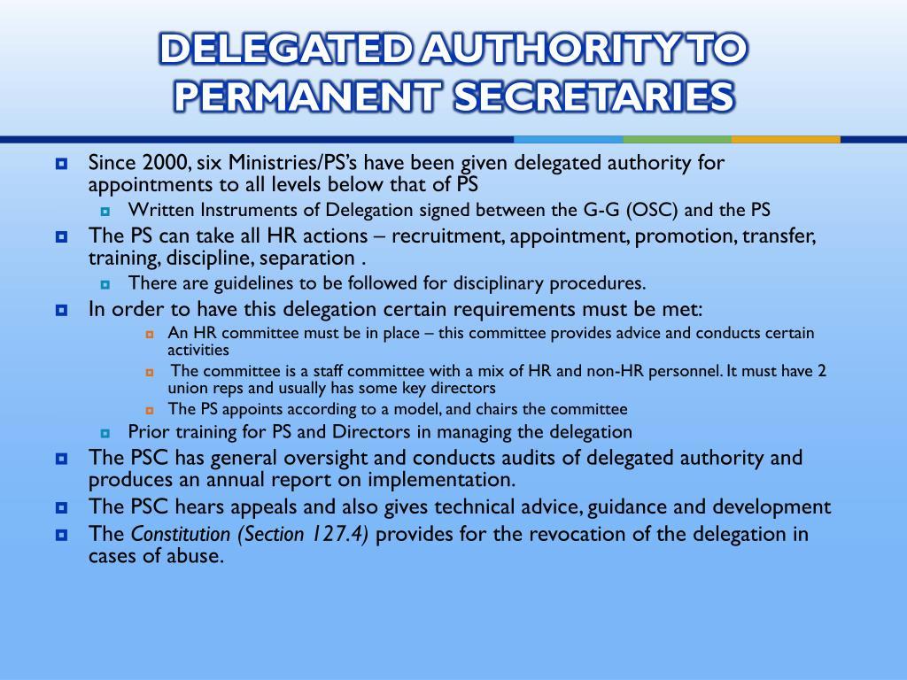 DELEGATED AUTHORITY TO PERMANENT SECRETARIES