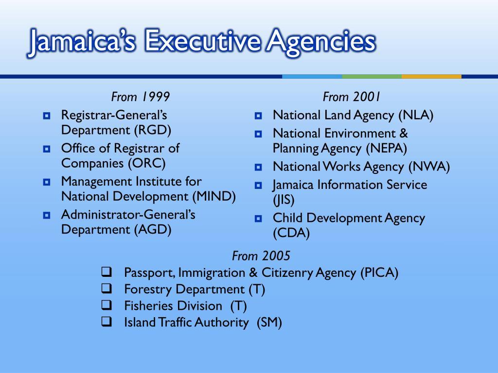 Jamaica's Executive Agencies