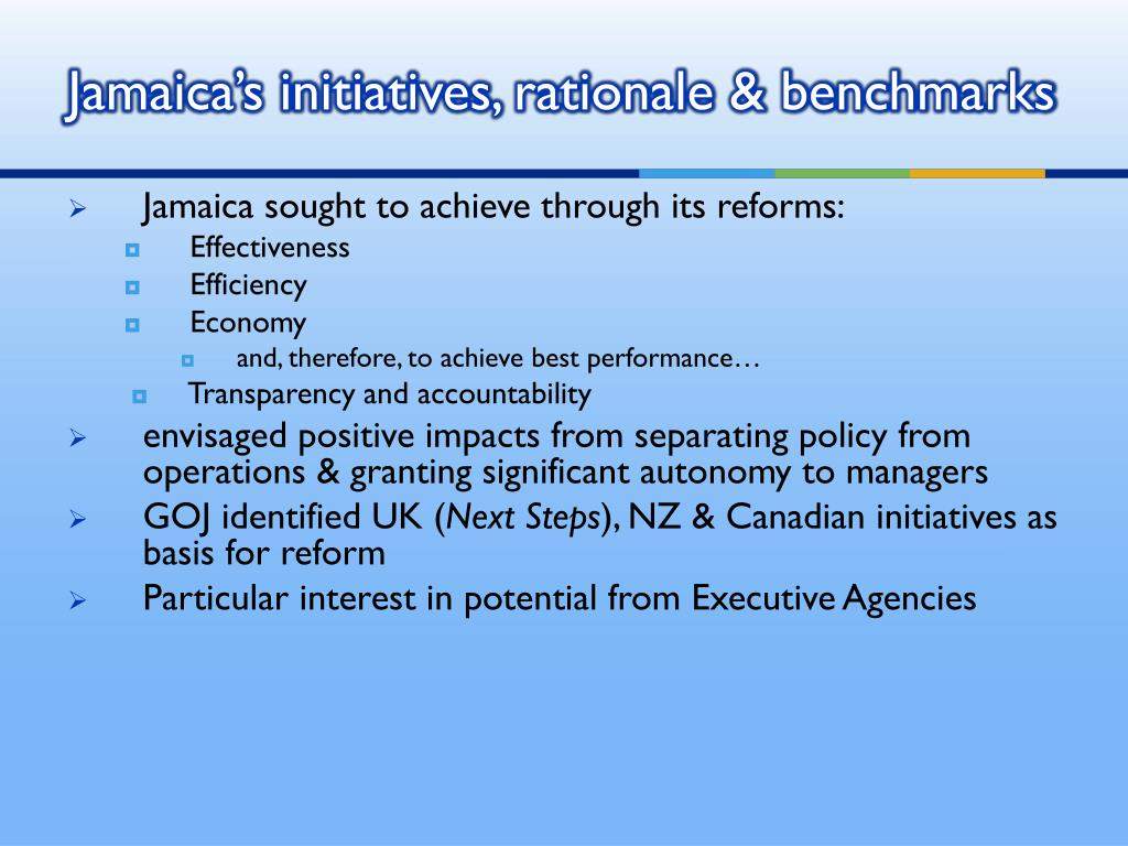 Jamaica's initiatives, rationale & benchmarks