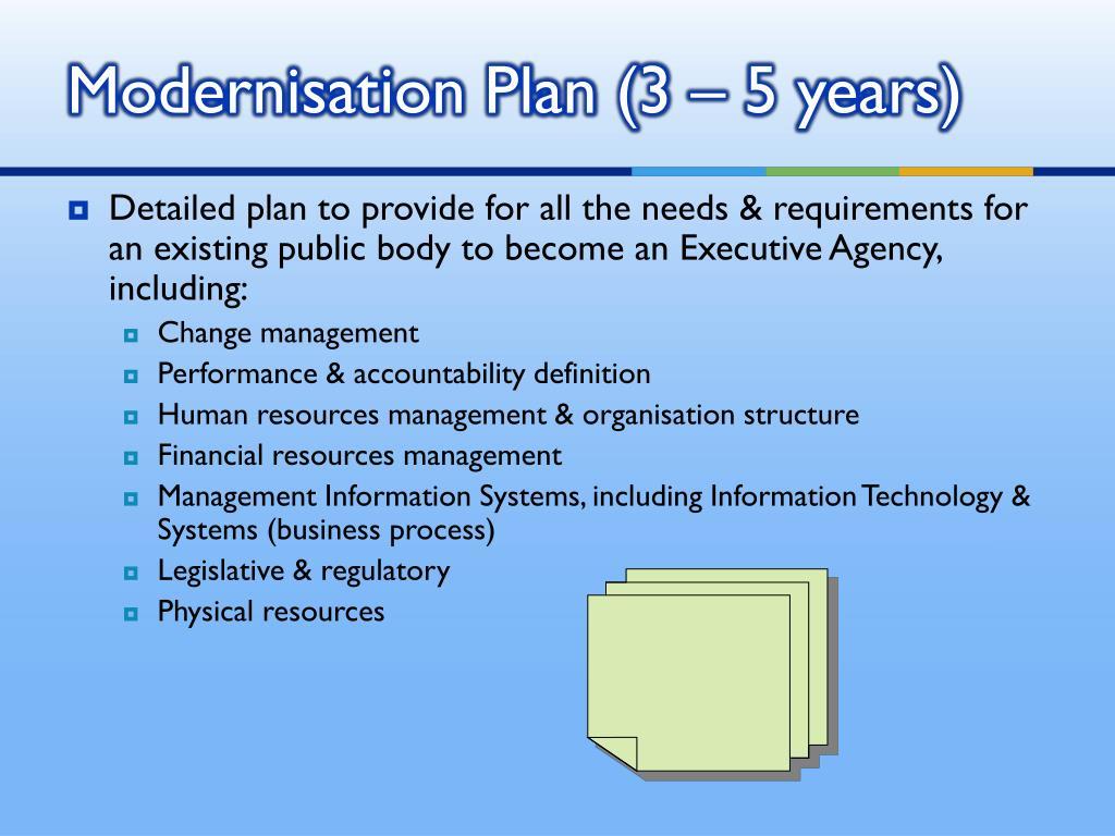 Modernisation Plan (3 – 5 years)