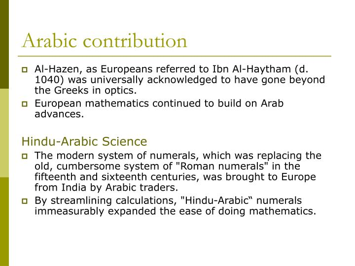 Arabic contribution