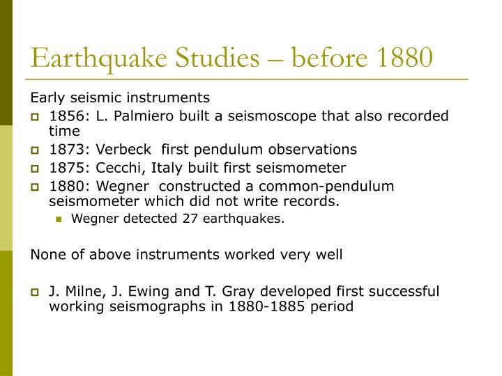 Earthquake Studies – before 1880