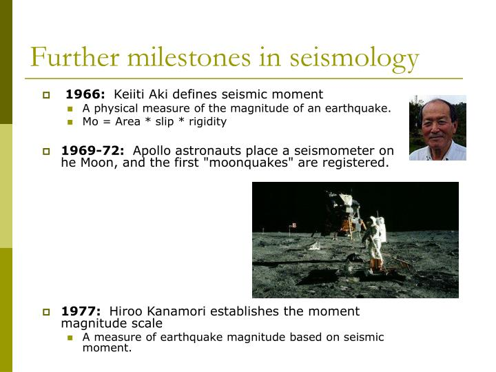 Further milestones in seismology