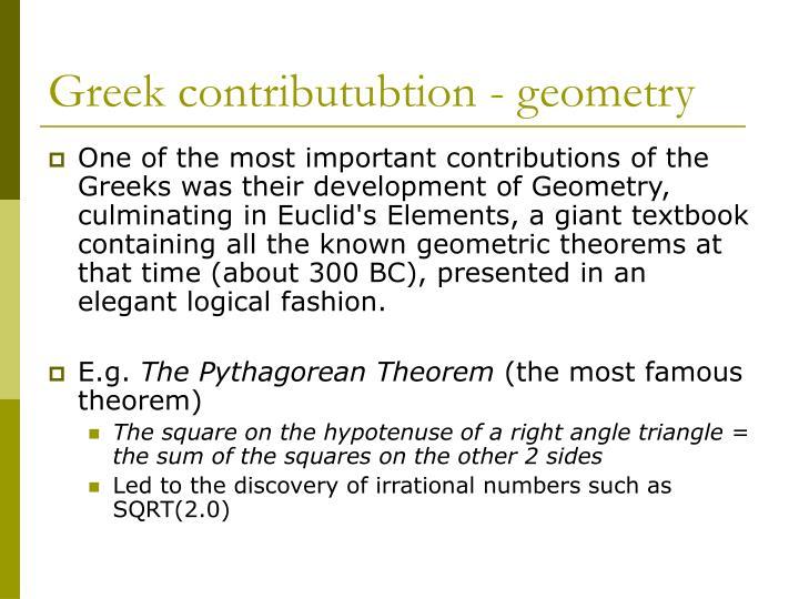 Greek contributubtion - geometry