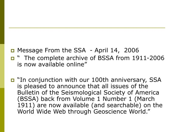 Message From the SSA  - April 14,  2006