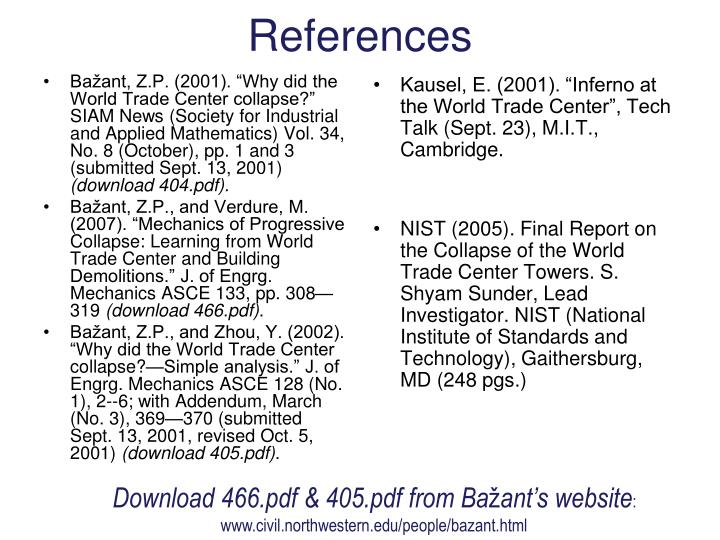 "Bažant, Z.P. (2001). ""Why did the World Trade Center collapse?"" SIAM News (Society for Industrial and Applied Mathematics) Vol. 34, No. 8 (October), pp. 1 and 3 (submitted Sept. 13, 2001)"