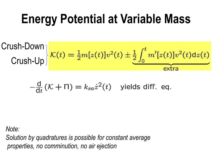 Energy Potential at Variable Mass