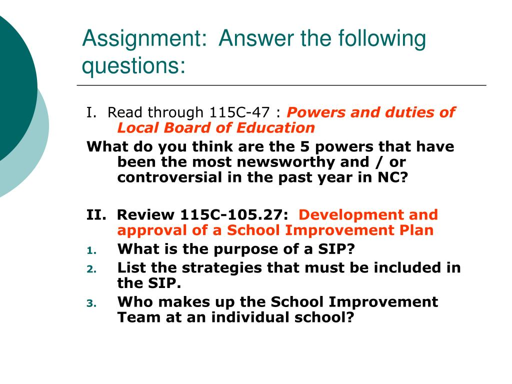 Assignment:  Answer the following questions:
