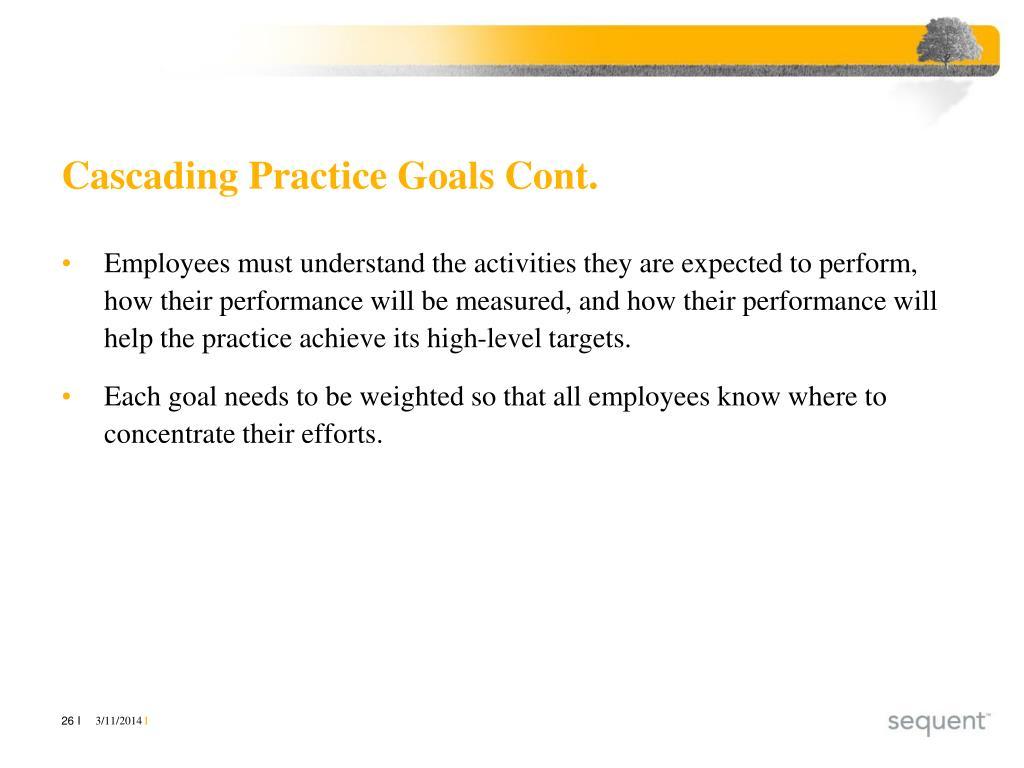Cascading Practice Goals Cont.