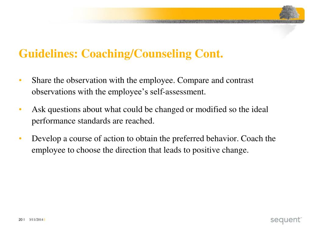 Guidelines: Coaching/Counseling Cont.