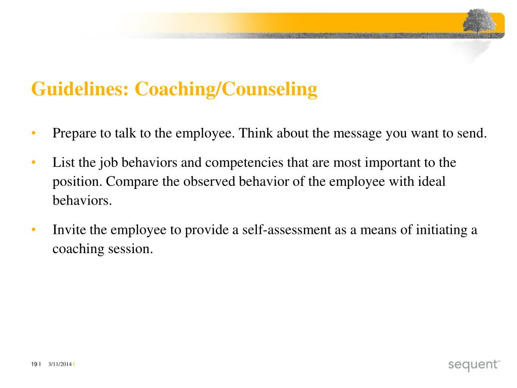 Guidelines: Coaching/Counseling