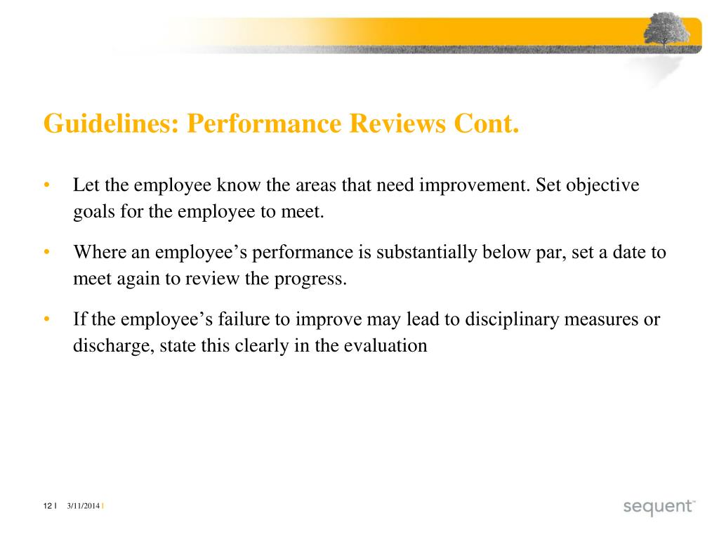 Guidelines: Performance Reviews Cont.