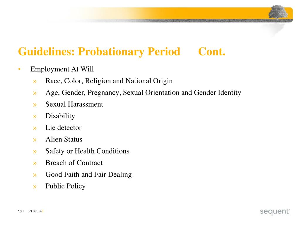 Guidelines: Probationary PeriodCont.