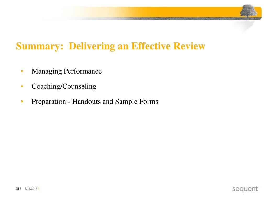 Summary:  Delivering an Effective Review