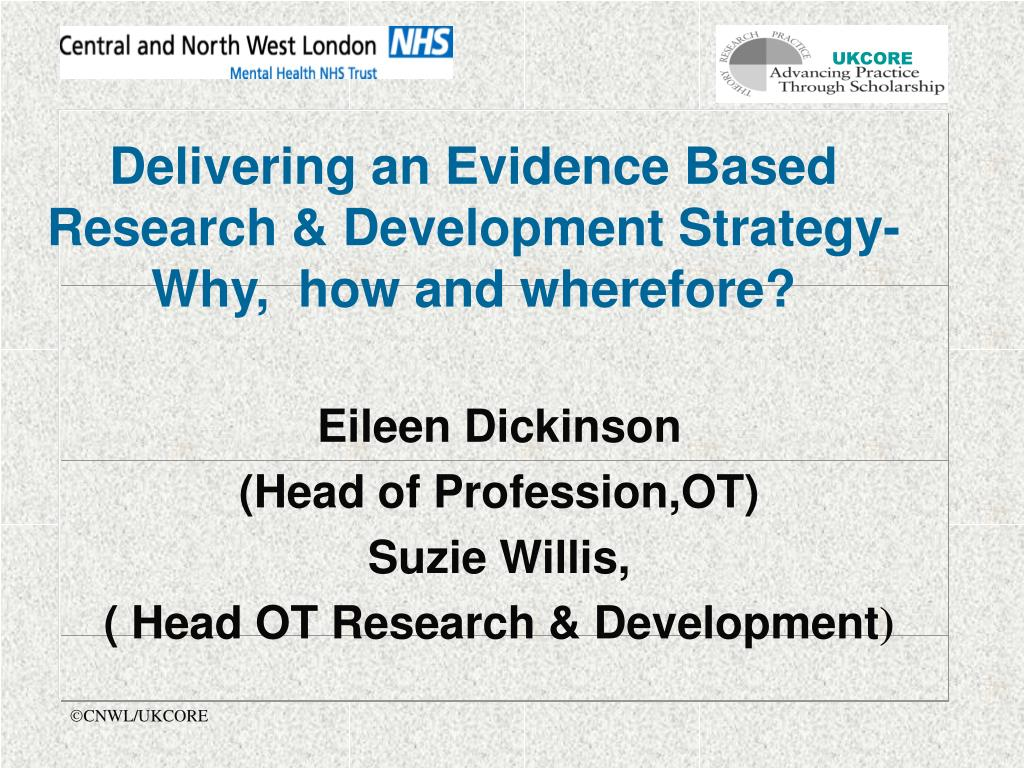 Delivering an Evidence Based Research & Development Strategy- Why,  how and wherefore?