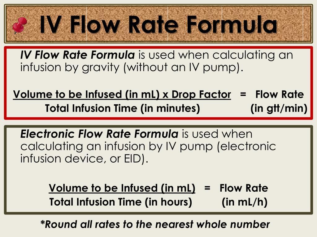 IV Flow Rate Formula