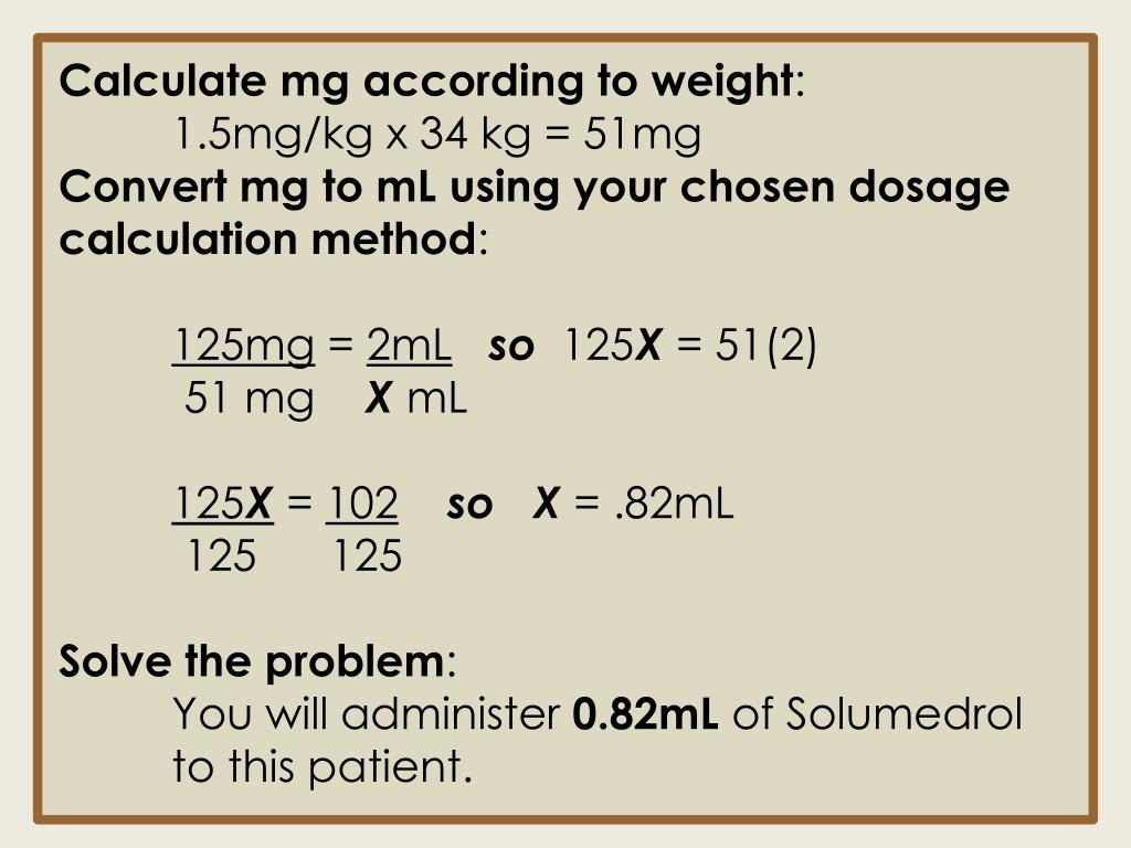 Calculate mg according to weight