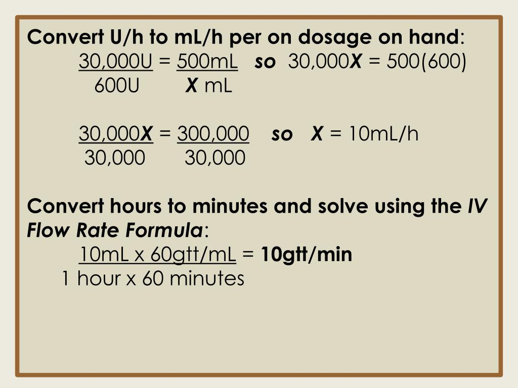 Convert U/h to
