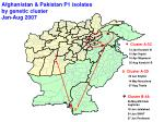 afghanistan pakistan p1 isolates by genetic cluster jan aug 2007