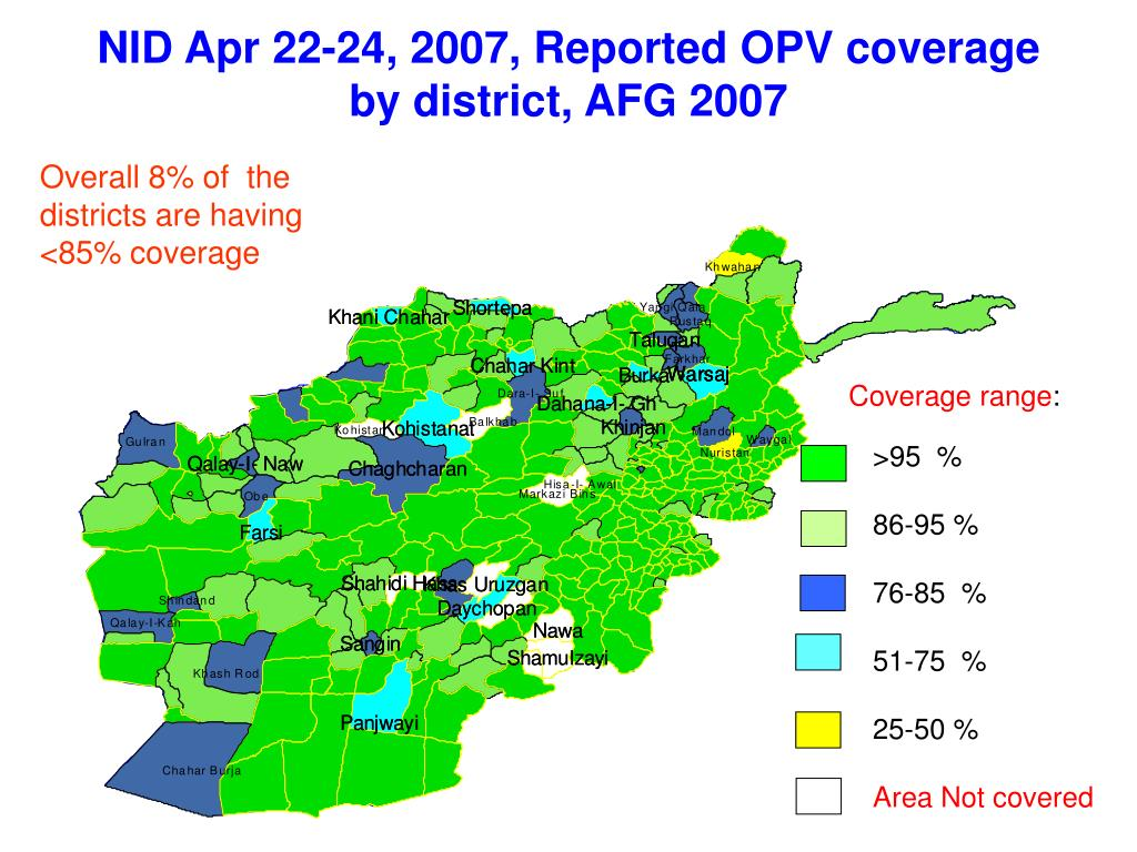 NID Apr 22-24, 2007, Reported OPV coverage