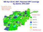 nid apr 22 24 2007 reported opv coverage by district afg 2007