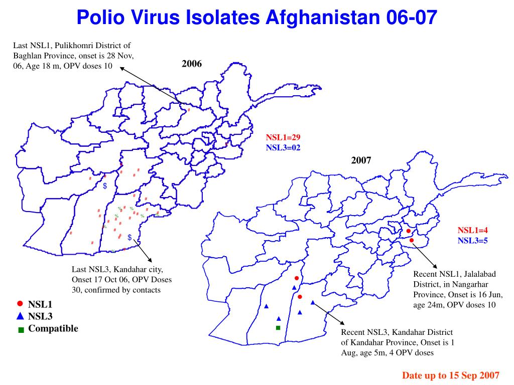Last NSL1, Pulikhomri District of Baghlan Province, onset is 28 Nov, 06, Age 18 m, OPV doses 10