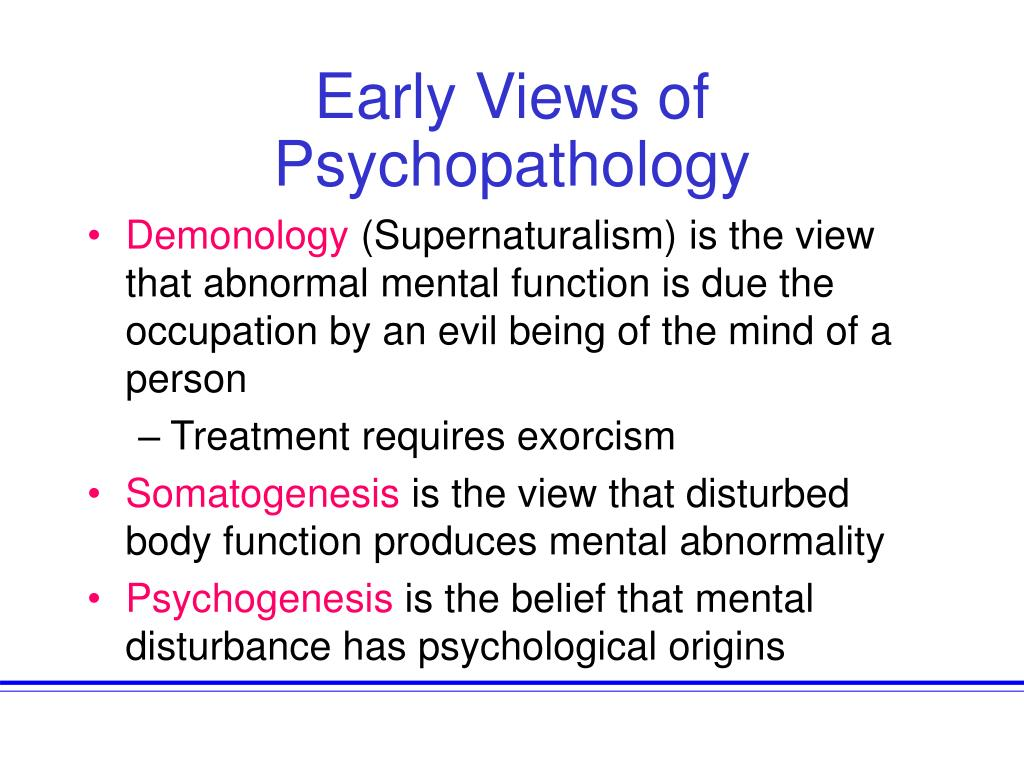 Early Views of Psychopathology