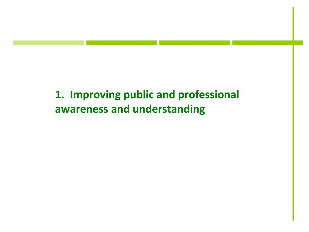 1.  Improving public and professional awareness and understanding