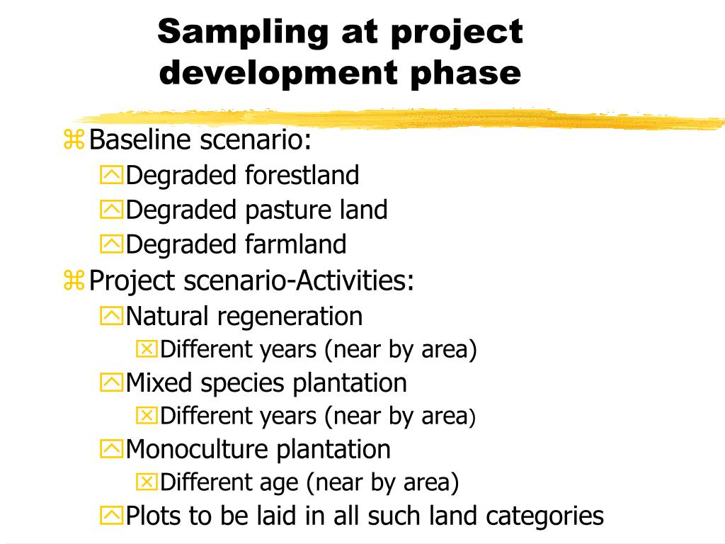 Sampling at project development phase