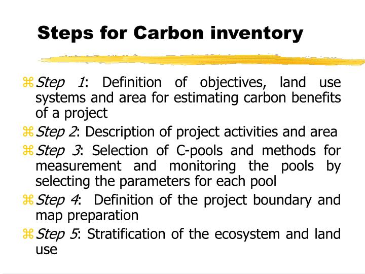 Steps for carbon inventory