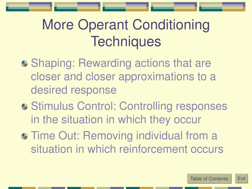 More Operant Conditioning Techniques