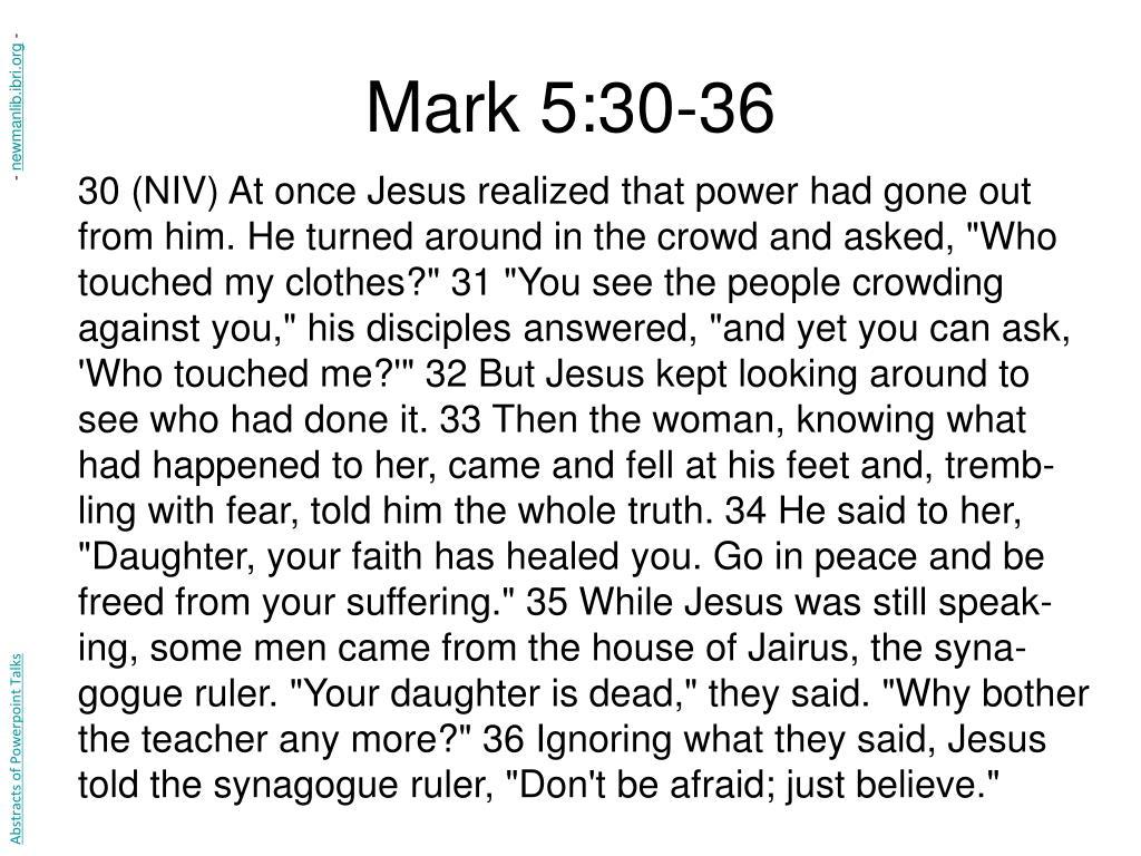 Mark 5:30-36