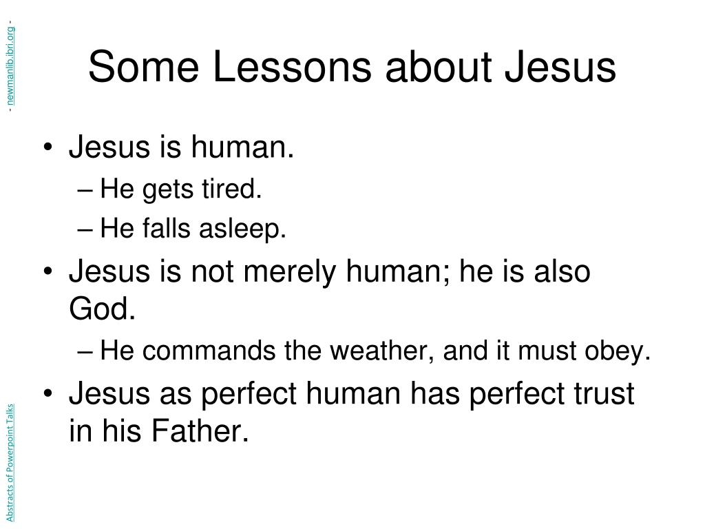 Some Lessons about Jesus