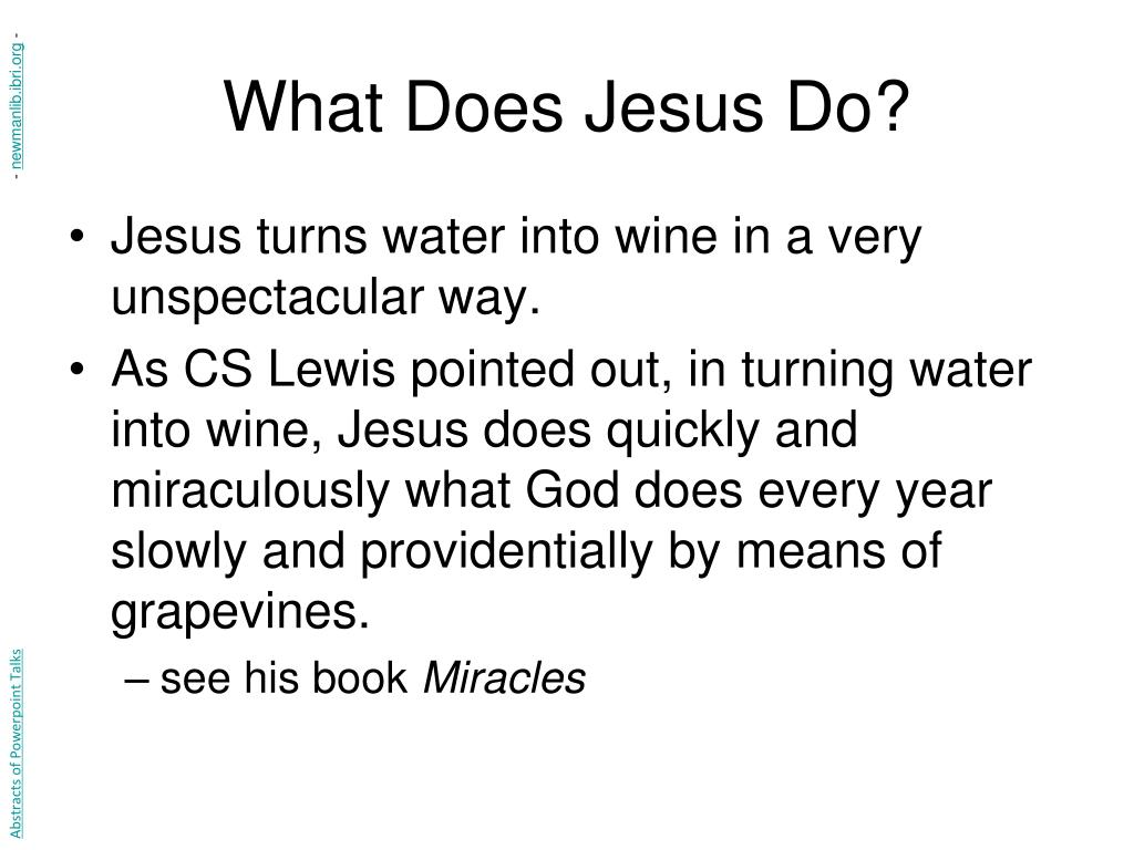 What Does Jesus Do?