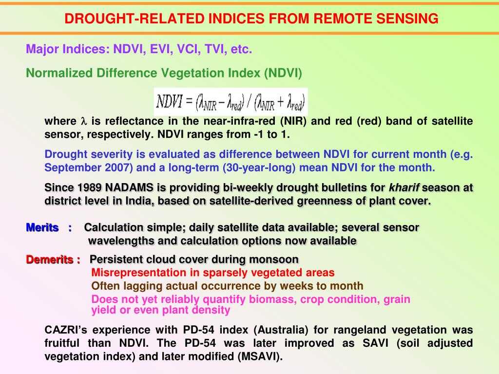 DROUGHT-RELATED INDICES FROM REMOTE SENSING