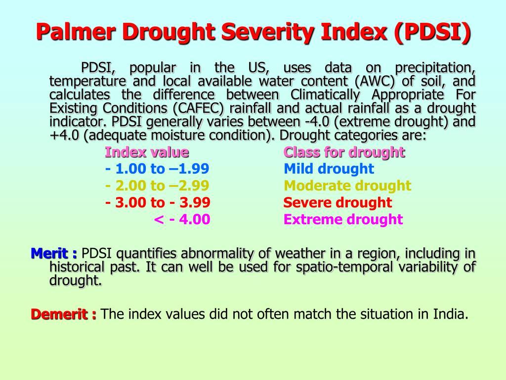 Palmer Drought Severity Index (PDSI)