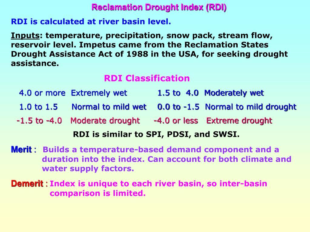 Reclamation Drought Index (RDI)