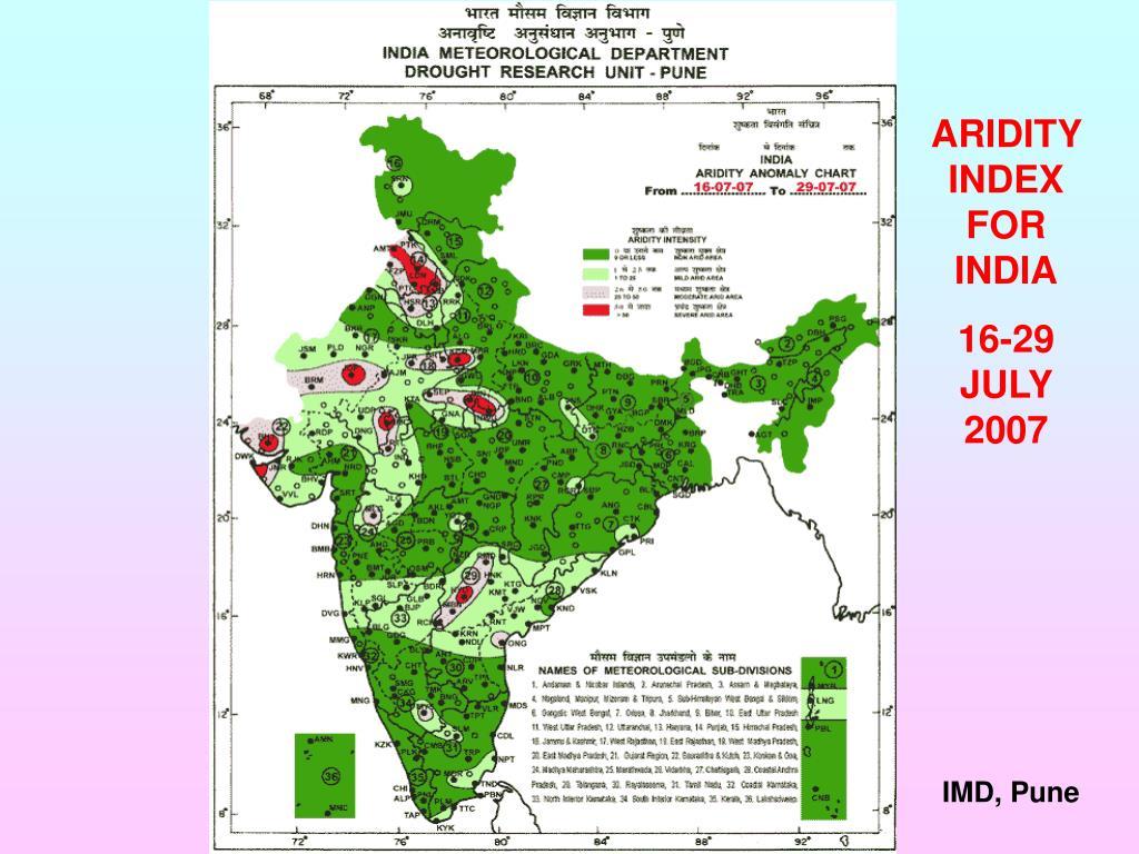ARIDITY INDEX FOR INDIA
