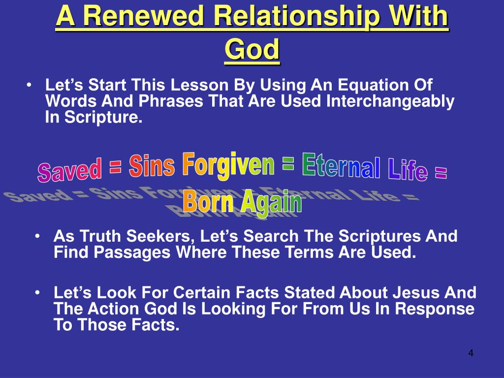 A Renewed Relationship With God